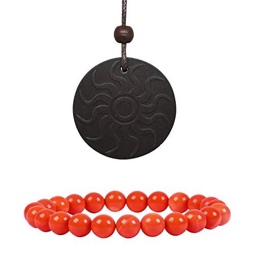 Anti EMF Radiation Protection Pendant, Scalar Energy Pendant Volcanic Lava Negative Ions Energy Pendant Necklace Orgone Pendant and 8mm Natural Colored Weathered Stone Beads Bracelet from EneQutum