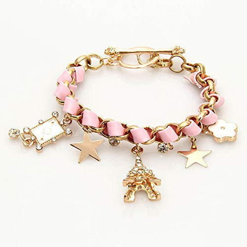 Gabcus 1pc Personality Stars Flower Love Poker Leather Rope Paris Eiffel Tower Crown Women Bracelet Jewelry Findings Accessories Gift - (Metal Color: Pink) ()