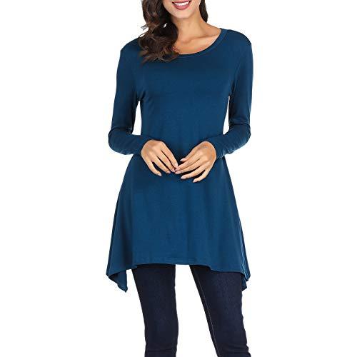 Cnokzol Women Long Sleeve Asymmetrical Tunic Shirt Casual Loose Trapeze Tunic Top Shirt(L,Blue)