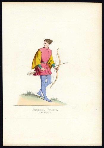 Fourteenth-century Italy Costumes (Antique Print-ARCHER-ITALY-COSTUME-14TH CENTURY-PLATE 44-Bonnard-Mercuri-1860)