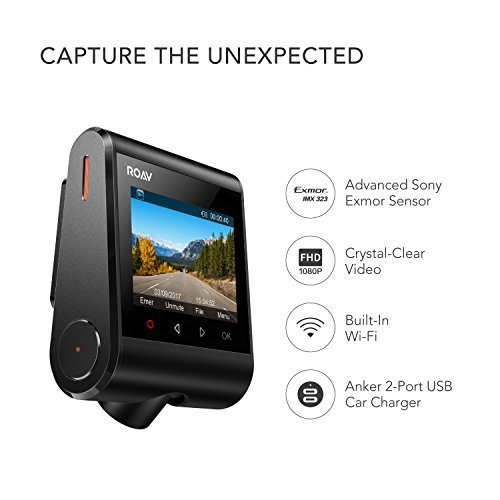 Anker Roav Dash Cam C1, Dashboard Camera Recorder, 2.4'' LCD, 1080P FHD, 4-Lane Wide-Angle View Lens, Built-In WiFi, G-Sensor, WDR, Loop Recording, Night Mode, 2-Port Charger, 32G microSD Card Included