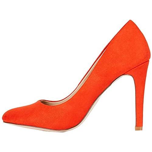 chollos oferta descuentos barato FIND Round Toe High Court Zapatos de Tacón Rojo Mandarina Red 36 EU