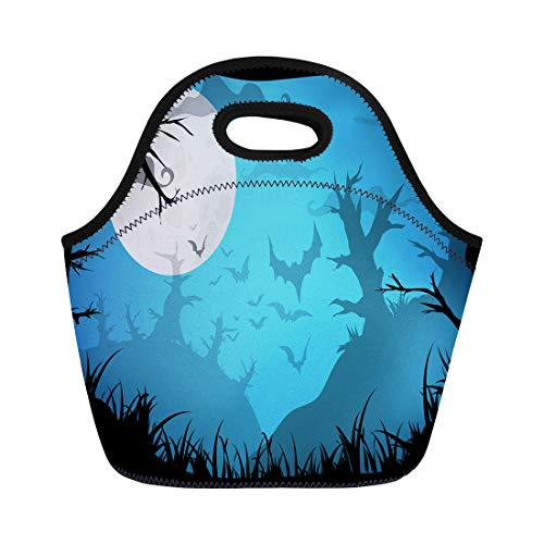 Semtomn Neoprene Lunch Tote Bag Halloween Blue Spooky A4 Border Moon Death Trees Reusable Cooler Bags Insulated Thermal Picnic Handbag for Travel,School,Outdoors,Work