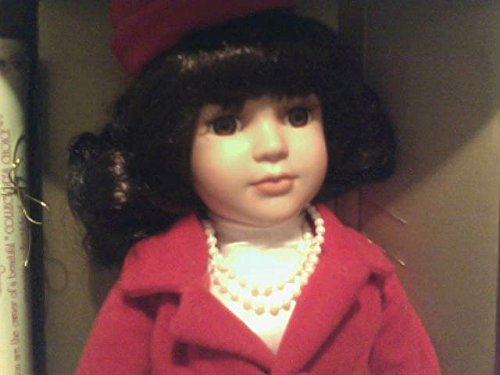 Porcelain Hand Painted Brunette Doll Wearing a Red Skirt Suit, Fashions of the Century- 1960's, Dressed in a Suit Like Jacqueline Kennedy Would Have Worn in the Early 1960's, Faux - Sunglasses Brunette