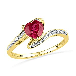Size - 6 - Solid 10k Yellow Gold Heart Round Red Simulated Ruby And White Diamond Engagement Ring OR Fashion Band Prong Set Solitaire Shaped Ring (.01 cttw)
