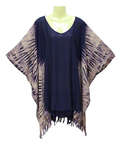 Poncho Caftan Tops Kaftan Blouse Tie dye Plus Size (navyblue)