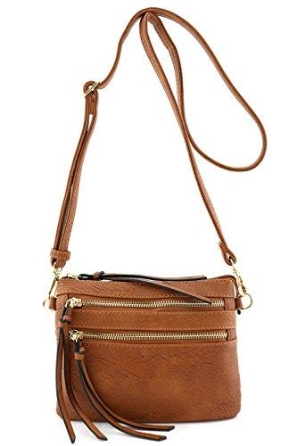 Multi Pocket Small Crossbody Bag Brown