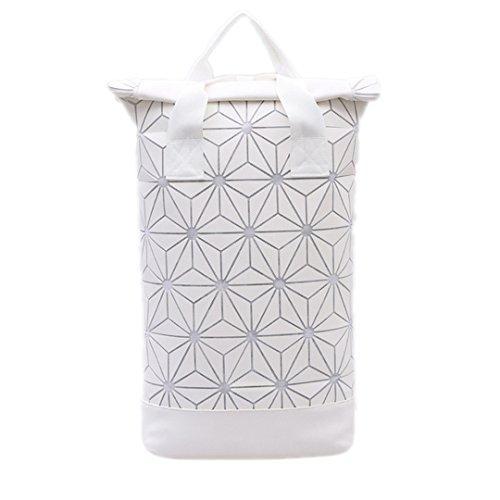 Meine Damen Geometrie Schulter Tasche Tasche Hologramm Nachtlicht Laptop Rucksack Paar Beutel Leuchtende White