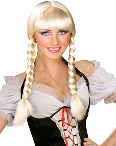 [Blonde Inga Swedish Cowgirl Pigtails Costume Wig] (Blonde Pigtail Wig)