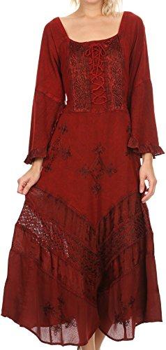 Sakkas 15223 - Mirabel Stonewashed Corset Style Floral Emboridery Kimono Sleeve Dress - Red - 1X/2X by Sakkas