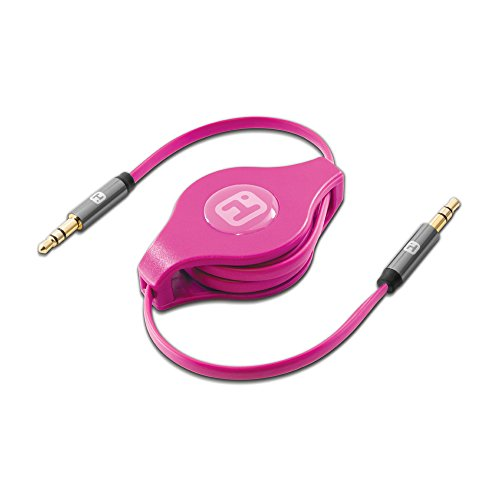 iHome | Retractable 2-foot Male to Male Audio Cable - Pink (See (Eclipse Split Compact)