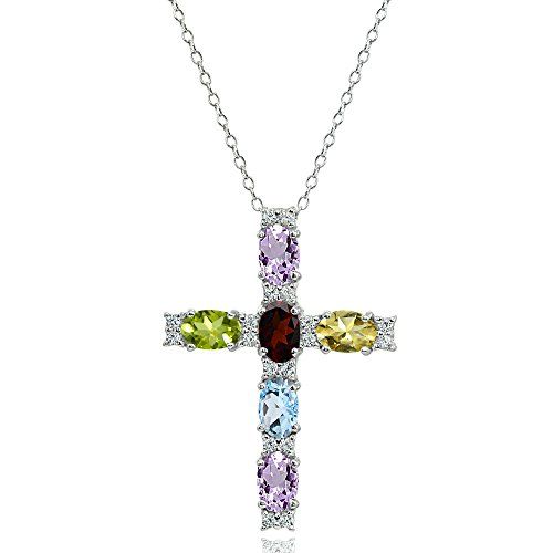 (Sterling Silver Multi Color Gemstone Oval-Cut Cross Pendant Necklace with White Topaz Accents)