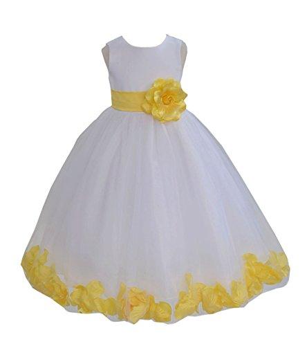 ekidsbridal White Floral Rose Petals Flower Girl Dress Birthday Girl Dress Junior Flower Girl Dresses 302s 14