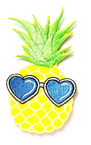Nipitshop Patches Pineapple Fruit Blue Fashion Heart Sunglasses Cartoon Kids Patch Embroidered Iron On Patch for Clothes Backpacks T-Shirt Jeans Skirt Vests Scarf Hat Bag