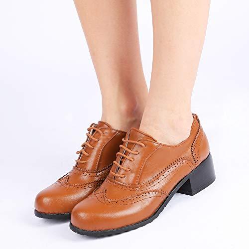 Talla Planos Zapatos Charol Odema Mujer Con De Color Cordones Marrón 38 FS55qxwdz
