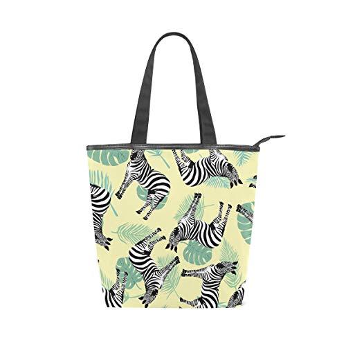 (Canvas Top Handle Tote Bag Wild Zebras Leaves Shoulder Bag Handbag for Women)