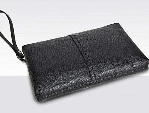 Capacidad Negocio Simple Móvil De Teléfono Mano Paquete Cuero Hombre Gran Ocio Bolsa Black qztYnfwPz