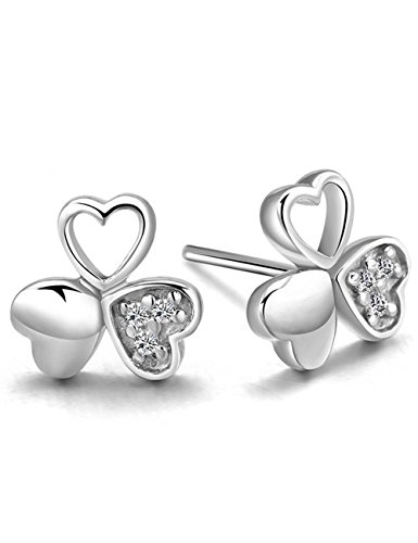 [S925 Sterling Silver Lucky Clover Design Swarovski Eternal Austria Crystal Stud Earrings] (Homemade Monkey Costumes For Babies)