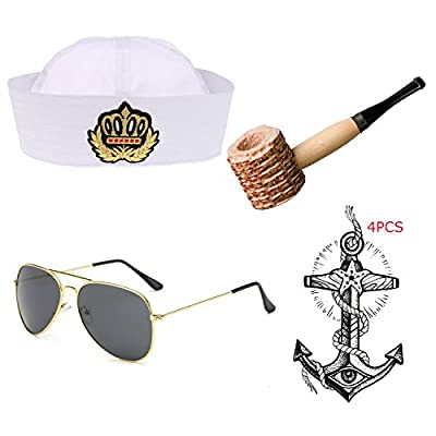 eforpretty Yacht Captain & Sailor Costume Set - Hat,Corn Cob Pipe,Aviator Sunglasses,Vintage Anchor Temporary Tattoo