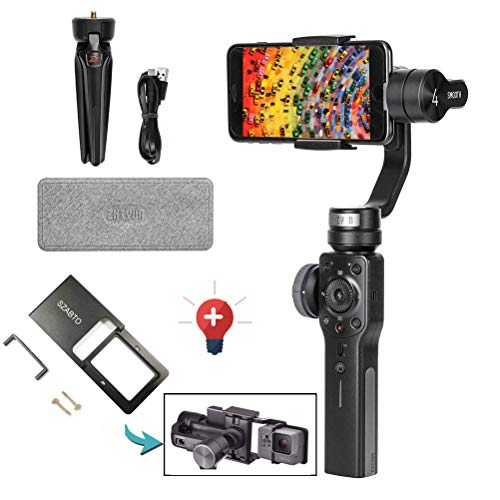 Zhiyun Smooth 4 Smartphone Stabilizer 3 Axis Handheld Gimbal Stabilizer with Adapter for iPhone x 8 7 6plus Samsung Galaxy S8 Note 8/GoPro Hero 6/5/4/3(The Latest Version +Action Camera Adapter)