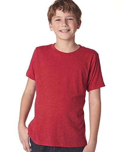 Next Level Big Boys' Tri-Blend Baby-Rib Soft Jersey T-Shirt, Vintage Red, (Tri Blend Rib)