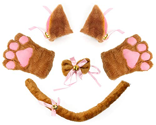 Beelittle Cat Cosplay Costume Kitten Ears Tail Collar Paws 5 Pack (Brown1)]()