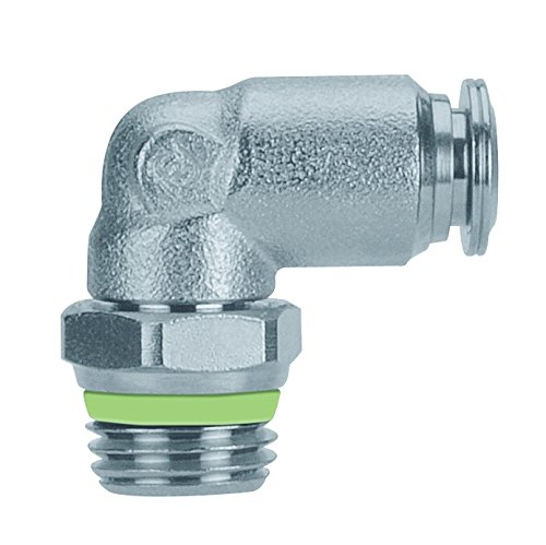 AIGNEP USA 60110-10-3/8 Push-In Fittings, Swivel Male Elbow, Stainless Steel, 10 mm Tube x 3/8'' BSPT Thread