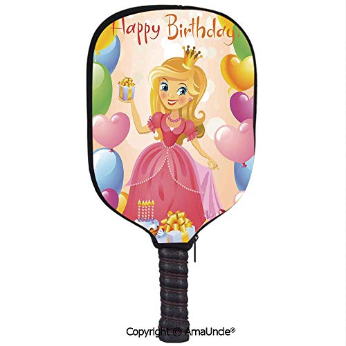 AmaUncle Neoprene Sports Pickleball Paddle Cover Sleeve,Personalized Birthday Girl Princess Themed Image with Hearts and Balloons Racquet Cover,Lightweight,Durable and Portable ()
