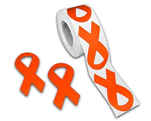 250 Leukemia Awareness Orange Ribbon Stickers (1 roll)