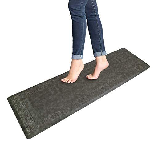 Pauwer Anti Fatigue Floor Mat Thick Cushioned Non Slip Kitchen Mat Waterproof Stain Resistant Floor Rug Comfort Standing Mat for Office Desk (Gray, 20