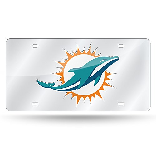 Rico NFL Miami Dolphins Laser Cut Auto Tag, Silver by Rico