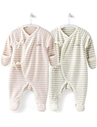 Unisex Baby Footed Pajamas for Sleep and Play, 100% Cotton Infant Footie Unionsuit with Built-in Mittens 0-3 Months