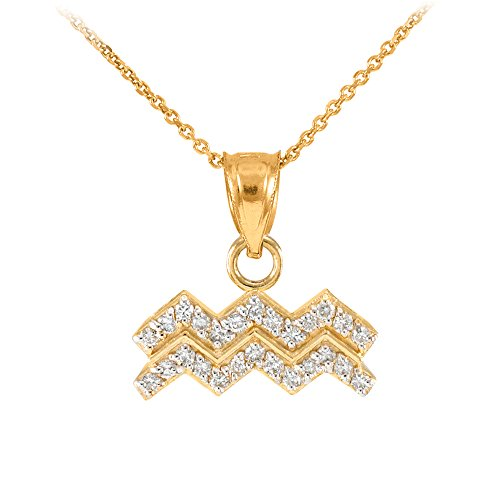 High Polish 14k Yellow Gold Diamond Aquarius Zodiac Pendant Necklace, 22