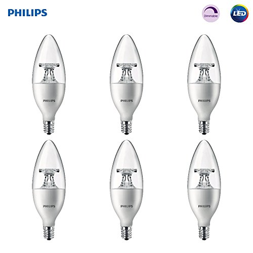 Philips LED 461905 40 Watt Equivalent Soft White Dimmable B11 LED Light Bulb, Candelabra Base Frustation Free 6 Pack, Piece