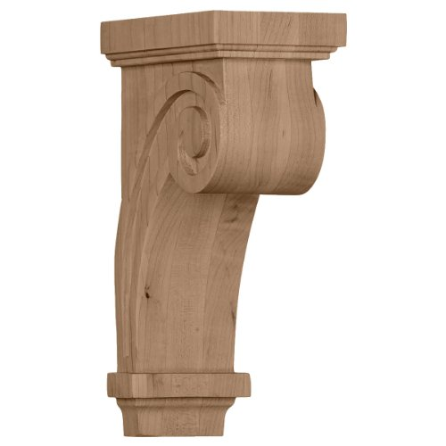 Ekena Millwork COR03X05X09SCRO 3 1/4-Inch W x 5-Inch D x 9-Inch H Scroll Corbel, Red Oak ()