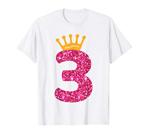 Happy Birthday Shirt Girls 3rd Party 3 Years Old Bday