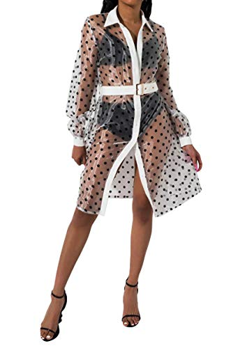 AKIRA Women's Sheer Polka Dot Organza Balloon Sleeve Belted Midi Trench Jacket Dress-White Black_S