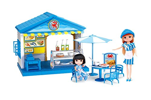 PlayMarket Playfood, Mini Seafood Restaurant Toy Play Set with 2 Pocket Dolls for Kids Age 3 Plus Years Old, 32 Piece