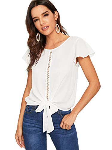 (Milumia Women's Summer Ruffle Cap Sleeve Knot Front Work Chiffon Blouse Top White)
