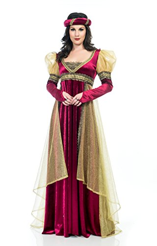 - Charades Women's Renaissance Lady Costume Dress, Burgundy, Small