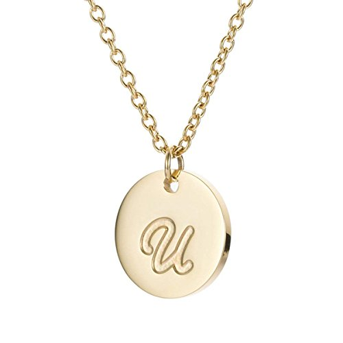 TTVOVO Initial Letter Necklace Stainless Steel 18K Gold Filled Engraved Personalized Disc 26 Alphabet Monogram Name Charms Pendant Necklace for Women - Letter U