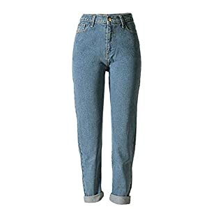 ECHOINE Womens High Waist Loose Fit Straight Leg Jeans Boyfriend Denim Pant