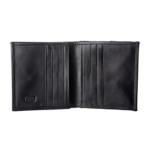Pocket in and Real Card Antica Leather for Black Holders 8 Credit Bifold Small Holder 2 Banknote Coin Toscana Wallet with Men PPB1Y