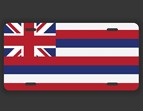 Hawaii State Flag License Plate Tag Vanity Novelty Metal | UV Printed Metal | 6-Inches By 12-Inches | Car Truck RV Trailer Wall Shop Man Cave | - Shop Kona Frame