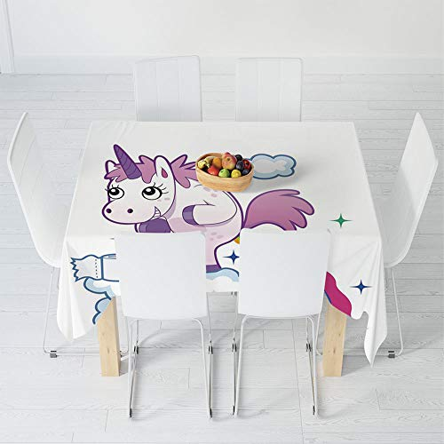 Fashionable Tablecloth,Funny,for Secretaire Square Table Office Table,23.6 X 23.6 Inch,Unicorn Pooping Rainbow Over Clouds Creative Kids