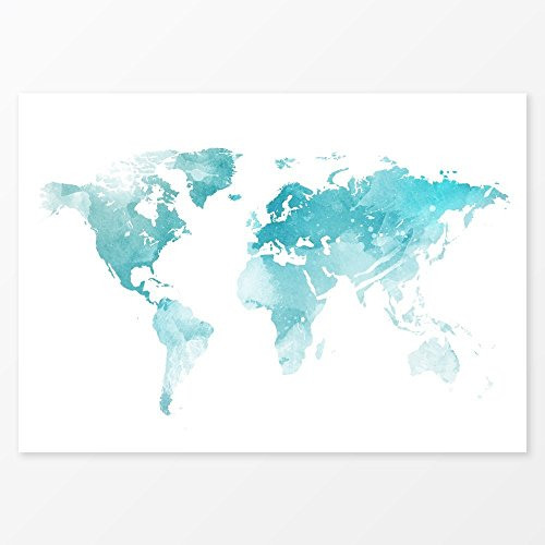 Ice Blue World Map Watercolor Decor, Size 36x24, Large Wall Decor Travel Map Art, Alternative Wedding Guest Book
