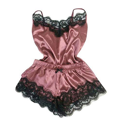 LUORATA Women Sexy 2Pcs Pajamas Set Satin Silk Sleepwear Lace Trim V Neck Lingerie Strap Cami Shorts Nightwear Lingerie (Hot Pink, XL)