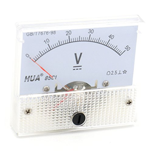Baomain Analog Voltmeter 85C1 DC 0-50V Rectangle Analog Volt Panel Meter Gauge
