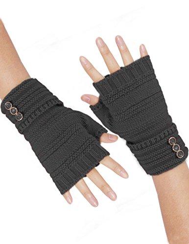 Button Fingerless Gloves - Dahlia Women's Triple Button Acrylic Knit Fingerless Gloves - Dark Gray
