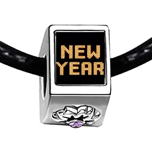 Chicforest Silver Plated Happy New Year Photo Light Amethyst Crystal June Birthstone Flower Charm Beads Fits Pandora Charm Bracelet